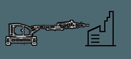 Демонтаж фундамента специализированного оборудования и станков c помощью робота